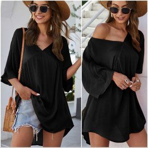LAST ONE! TOP YOUR DAY OFF TUNIC DRESS-BLACK